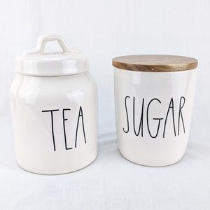 Rae Dunn Tea and Sugar Canisters with Lids